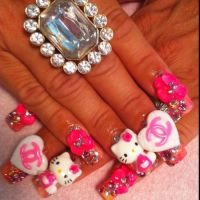 Hello Kitty 3D Nails   Nails   Pinterest
