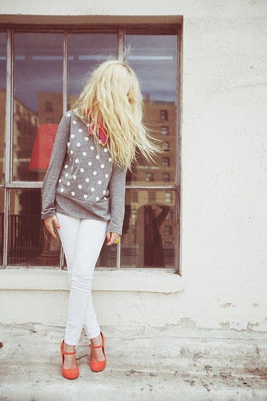 White pants, grey, pop of color.