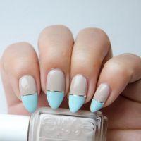 neutral & light blue nail art   Nailed It!   Pinterest