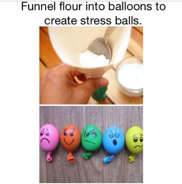 DIY stress balls-can use rice, conrstarch, flour, beans...etc! Double over the balloons to make more sturdy..