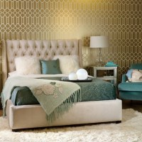 Gold and teal bedroom design | Rooms and spaces | Pinterest