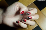 red black and white nail art
