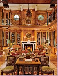 Two story library | Interior Design | Pinterest