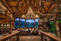 Huge open log home living room with vaulted ceiling and ...