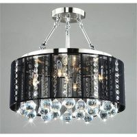 Black drum shade chrome crystal ceiling chandelier pendant ...