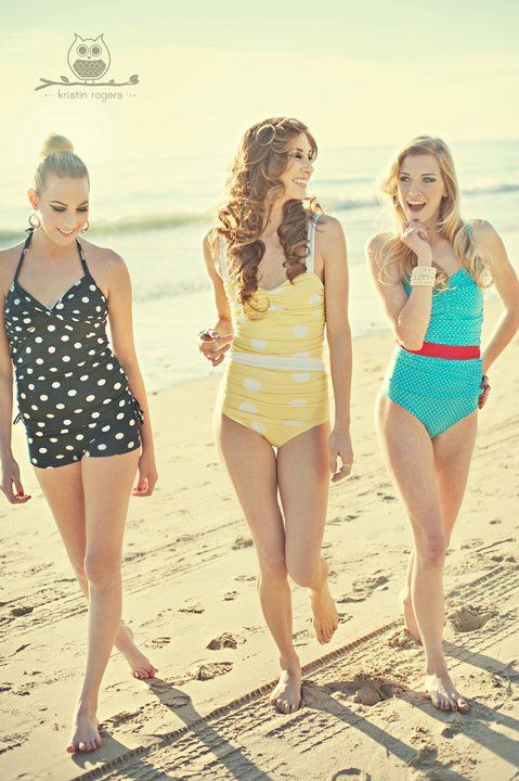 Now why can't more teens wear bathing suits like this? I especially like the black and white!