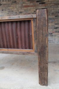 Queen Headboard Reclaimed Barn Wood and Rusty Metal