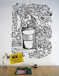 Wall doodle art: The song of Coffee. | wall art | Pinterest