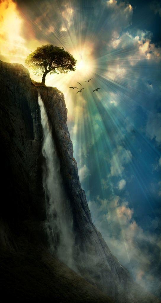 Waterfall sunburst
