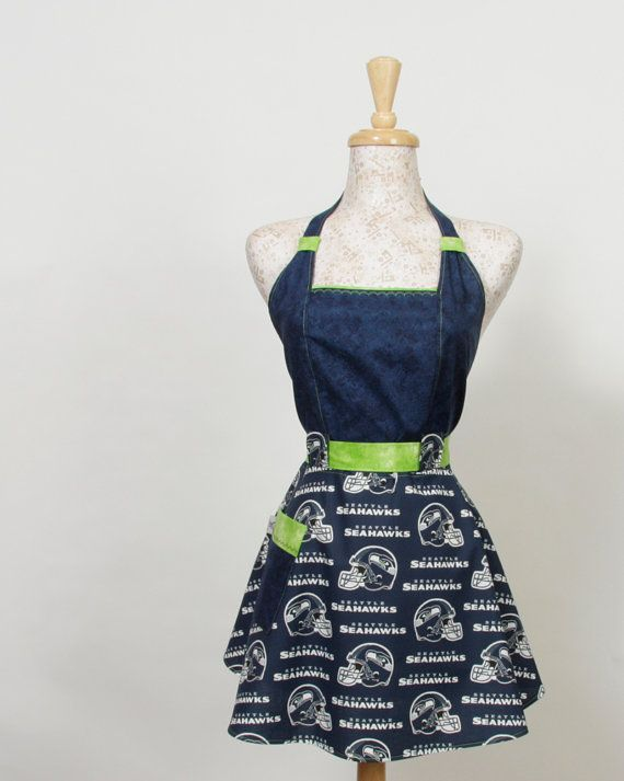 Team Apron, NFL football Seattle Seahawks Navy and Lime Green on Etsy, $34.95
