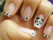 french tip paw prints panda