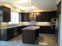 Black Kitchen Cabinets And Cream Floor Tiles - House Furniture