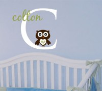 Boy Name Owl Wall Decal Baby Nursery Wall Sticker Decor ...