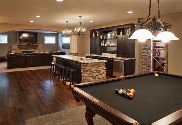 Find ideas for remodeling your basement into your fantasy space or simply finish it with hgtv's basement flooring and color ideas. game room, bar, entertainment room | Dream House | Pinterest