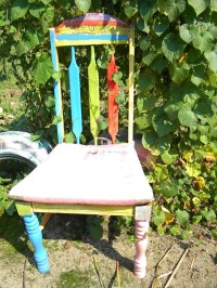 Painted chair in the garden x | Repurposed chairs | Pinterest