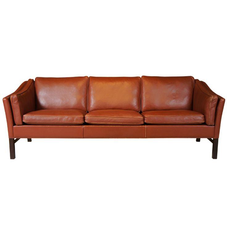 Danish Modern Leather Sofa