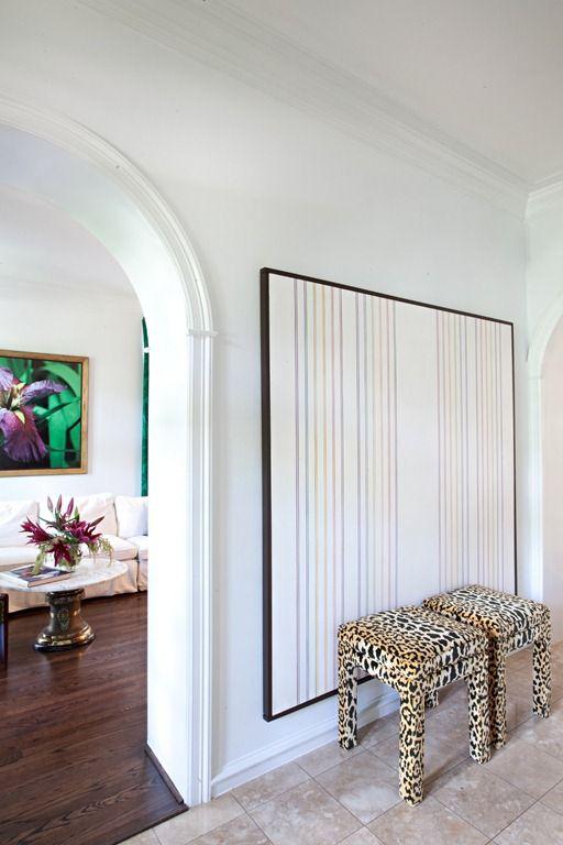 Sally Wheat Interiors, entry, leopard stools