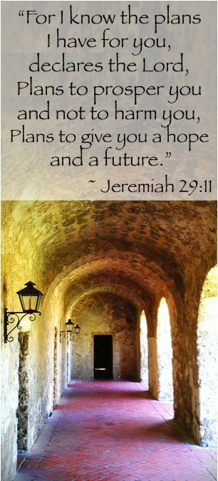 """For I know the plans I have for you, declares the Lord, Plans to prosper you and not to harm you, Plans to give you a hope and a future.""  ~ Jeremiah 29:11 #bibleverses"