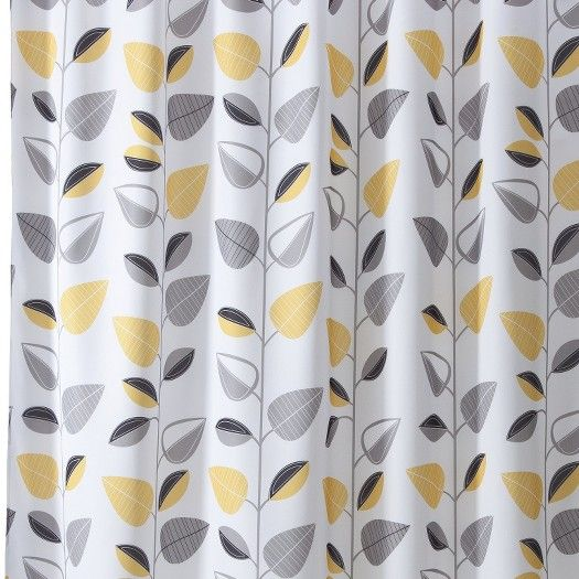 Gray Yellow Shower Curtain