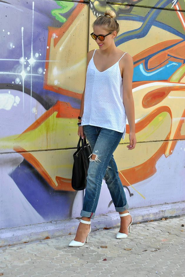 White Heels #studded #denim #lace #boyfriend #shirt #tie #short #back #bag #side #over #shirt #t-shirt #short