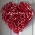 Heart shaped deco mesh wreath wreaths pinterest