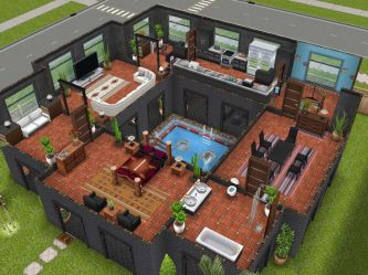 freeplay sims floor 2nd pool plans houses designs building stilts play mansion layouts variation simsfreeplay thesims cool layout saw game