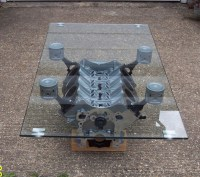Engine block coffee table   Items for the road ahead ...