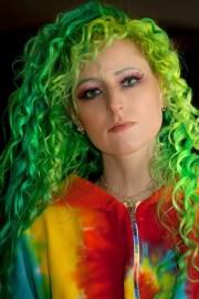 green hair curly girl