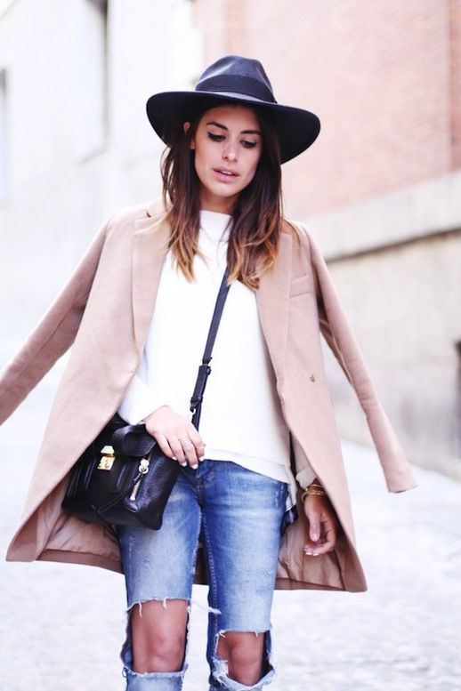 "The perfect ""off-duty"" look: fedora, wool blazer, ripped jeans, and a sleek bag // #StreetStyle"