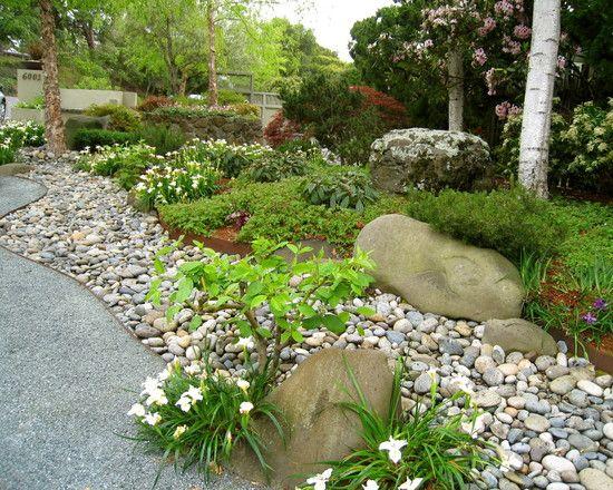 river rock flower bed design