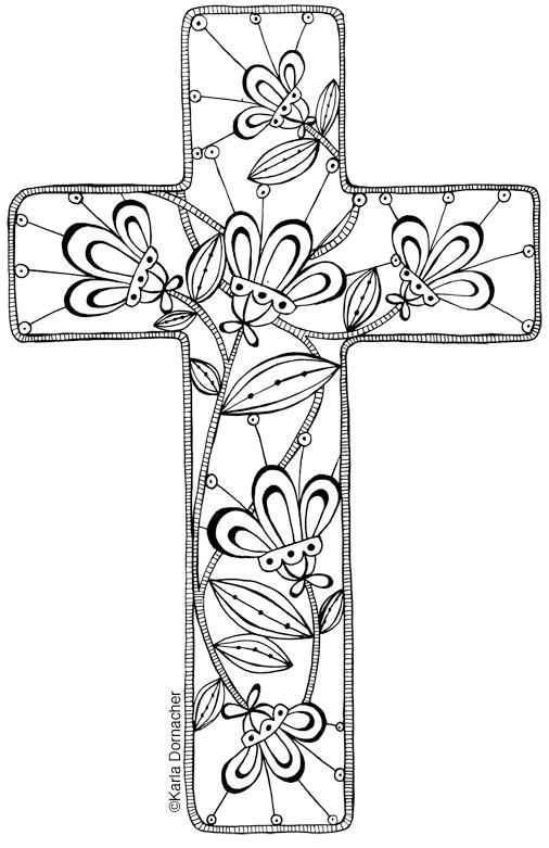 Cross Adult Coloring Birthday Cards Coloring Pages