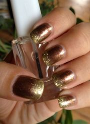 gold & brown ombre glitter nails