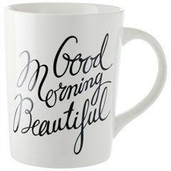"Good Morning Beautiful Mug by Indigo -- Matching ""Good Morning Handsome"" mug also available. Cute wedding gift. :)"