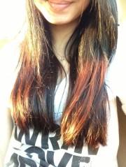 black hair dip-dyed copper