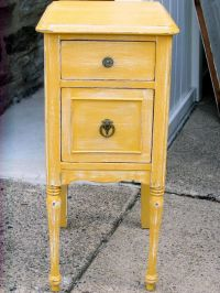 Shabby Chic distressed Yellow nightstand