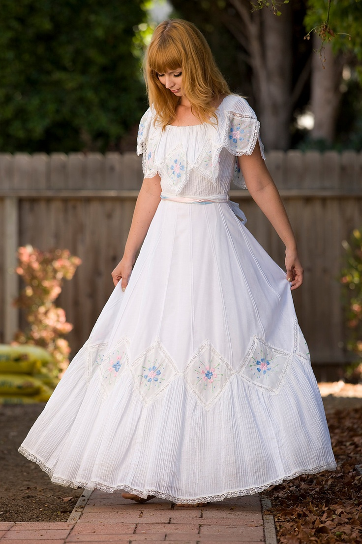 1960s Embroidered Mexican Wedding Dress