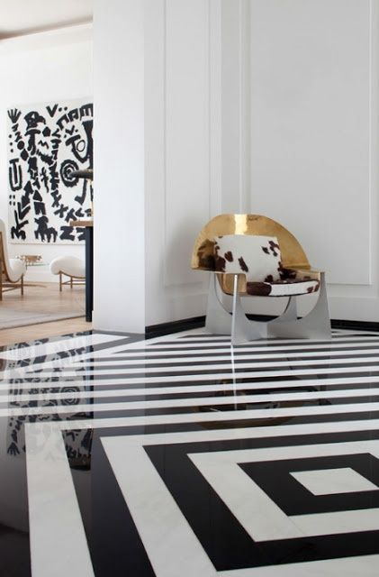Black and white floors