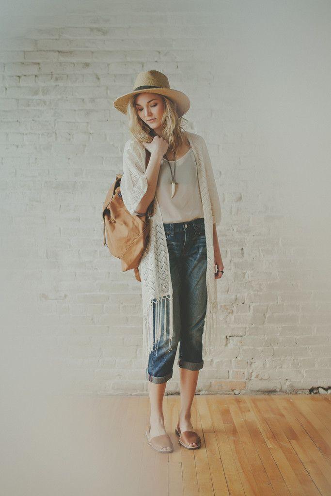 Kendall Fringe Kimono | Modern Bohemian White Lace Fringe Kimono Cardigan