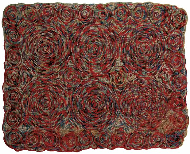 SWURLS Spool knitted rug Wool Circa 1940 Oddfellows antiques