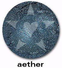 """Aether is a lush, mid-tone oceanic complex blue with sparkles of blue and silver. Fom Aromaleigh's metallic mineral eyeshadow collection, """"ALCHEMIE"""", based on v1's """"Elemental Lustre""""."""