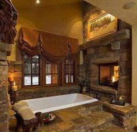 Pics For > Log Cabin Master Bathrooms