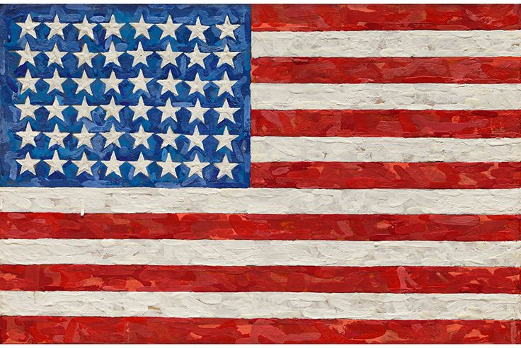 Jasper Johns, Flag, est. $15/20 million, encaustic on silk flag on canvas, 11 5/8 x 17 1/2 in. 29.5 x 44.4 cm. Photo: Sotheby's.