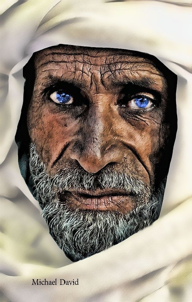 Watercolor brushes with Pen an Ink by Michael David - Old Arab Man