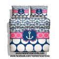 Nautical anchor bedding hot pink and navy bedding damask and