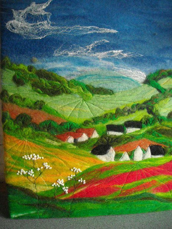 wet felted landscape poppy field