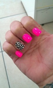 hot pink black bling nails