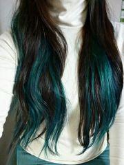teal highlights mermaid hair