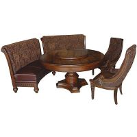 Comfortable furniture: Round dining table with bench seating