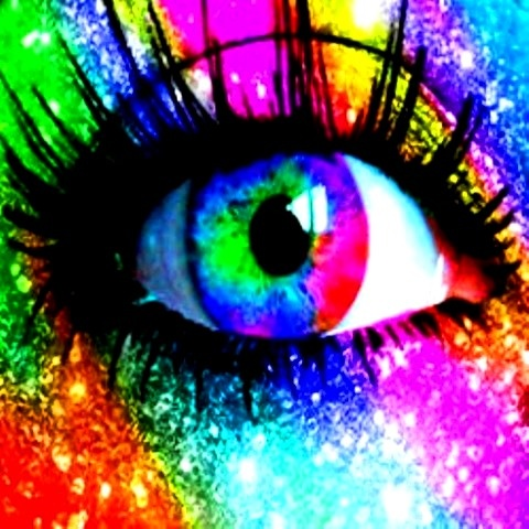 Rainbow color glitter eye makeup Colour Centric Pinterest