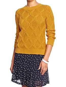 Women's 3/4-Sleeve Cable Sweaters | Old Navy